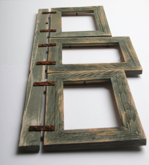 2 barnwood collage sage frame 3 5x7 multi opening frame rustic picture frames reclaimed. Black Bedroom Furniture Sets. Home Design Ideas