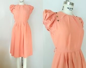 1940s Dress // FOREVER YOUNG Dress // Vintage 40 Peachy Pink Rayon Dress // XS