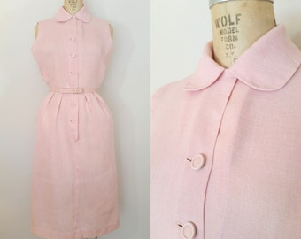 1940s Shirtwaist Dress // PAS DE SOURIS Dress // Vintage 40s Pink Linen Dress // Medium