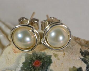 Studs Pearl Earrings, Wire Wrapped Post earrings Birthstone Jewelry Weddings Earrings