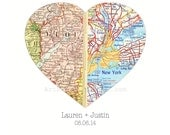 Heart Map, Anniversary Gift, Personalized Gift for 1st Anniversary, Cotton Anniversary, 2nd Anniversary, Map Print Gift Husband Gift