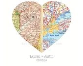 Personalized Map Art, Custom Wedding Gift for Couples, Wedding Map Heart, Engagement Gift, Heart Map Print