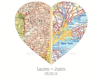 Couples Map Gift, Personalized Map, Unique Husband Gift, Custom Map Personalized Gift, Wedding Gift, Map Heart Anniversary Art Print