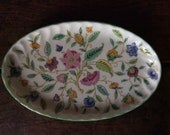 Vintage English Minton Bone China Flowery Vanity Dish Jewelry Jewellery Trinket Tray Dessert Platter Oval Plate circa 1930's / English Shop