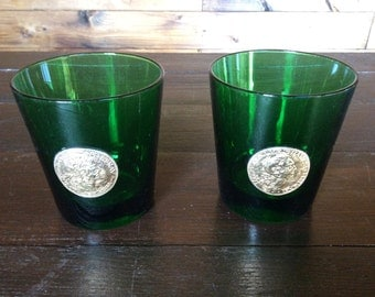 Vintage Italian green drinking glasses glass beakers circa 1960s / English Shop