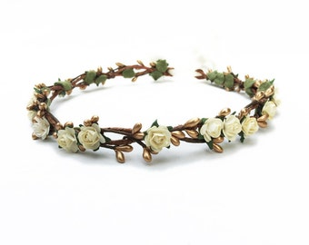 Bridal Flower Crown. Gold Crown, Hair Wreath, Ivory Flower Crown, Bridal Headpiece, Floral Crown, Gold, Bridal, Floral, Circlet, Boho