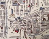 1 Yard Passport New York City Map in Cloudy Cream Blue by Moda