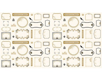 """12"""" or 1/3 Yard of  The Downton Abbey  Logos and Labels Fabric by Andover"""