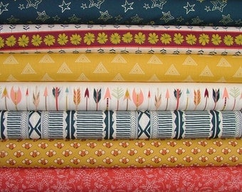 Fat Quarter Bundle of 7 from the Wild & Free Collection by Maureen Cracknell for Art Gallery Fabrics