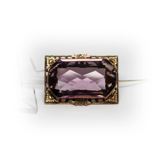 Antique Large Amethyst Brooch