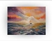 Seascape Sailboat Ocean Original painting- 30 x 40 - Skye Taylor