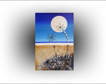 Abstract art - 3D Original painting Palm tree on sand Moonlight Beach - 36 x 24 - Skye Taylor Artist