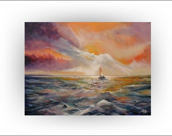 Huge Seascape Orange Sunset Sailboat Ocean Original painting Wall Decor Acrylic- 30 x 40 - Skye Taylor