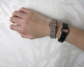 7.5 inch leather boho hippie gypsy festival stacking bracelet black grey genuine leather gift for her