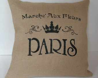 """One (1) Beige Burlap """"Paris Marche Aux Fleurs"""" Pillow Cover Made to Fit  18"""" x 18"""" Pillow"""