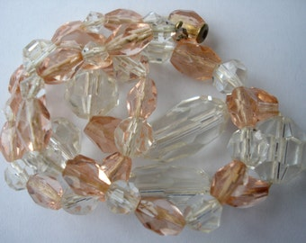 Necklace Deco Pink and Clear Glass  Beads 1920's 1930's