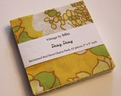 "Yellow Vintage Sheet Fabric Charm Pack - 42 pieces, 5"" x 5"". Yellow ""Daisy, Daisy"" theme."