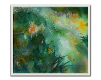Edem, mixed media, green landscape, psychology, giclee print, firebird, print on paper, relaxing art, meditation, painting, herbage, grass