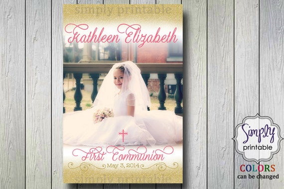 Gold Pink Communion Sign with Photo (Digital Printable)