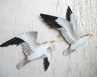 Nautical Metal Seagulls, Set of Two, Hand Painted, Wall Decor. Beach Cottage