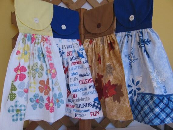 Four Season Set of Kitchen Tea Towels Set of 4 Hanging Kitchen Towels Spring Summer Fall Winter SnowNoseCrafts