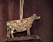 Jersey cow ornament hammered steel hand rubbed gold patina