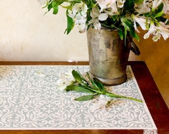 Anastasia Damask Tile Furniture Stencil for DIY Craft Decor.