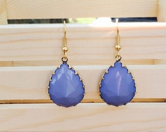 Gorgeous faceted blue drop earrings