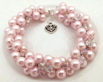 Pink Pearl Bridesmaid Bracelet, Light Pink Pearl Bracelet, Wedding Jewelry, Pearl Cluster Bracelet, Statement Bridal Bracelet