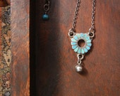 Antique Zuni Sterling Silver Turquoise Flower Pendant Necklace - OOAK Upcycled Jewelry