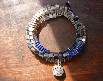 Graduate Colors Necklace with Bali Silver Locket, Moonstone, Labradorite and Lapis Lazuli, Wrap Bracelet, Cube Necklace, Autumn Jewelry