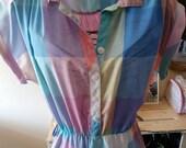 Pastel plaid shirt dress