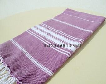 Turkishtowel-NEW Stripes, Soft-High Quality,Hand Woven,Cotton Bath,Beach,Pool,Spa,Yoga,Travel Towel or Sarong-Purple,White Stripes