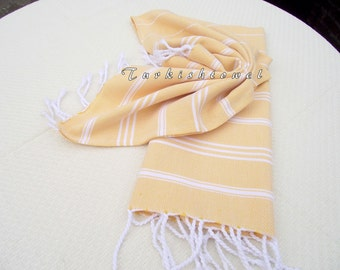 Turkishtowel-NEW Set of 2-Hand woven Peshkirs-Hand towels,Tea towels,Dish towels,Neck Warmers,Bath Towels-White stripes on Yellow