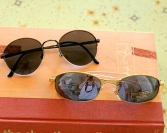 1980s Vintage SUNGLASSES SET....instant collection. round lens. retro. set of 2. vintage sunglasses. shades. aviators. wayfarers. clubmaster