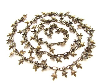 2 Feet Delicate Antique Brass Leaf Chain