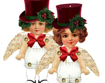 Christmas paper doll ornaments DIY paper ornaments Articulated Paper dolls steampunk angels
