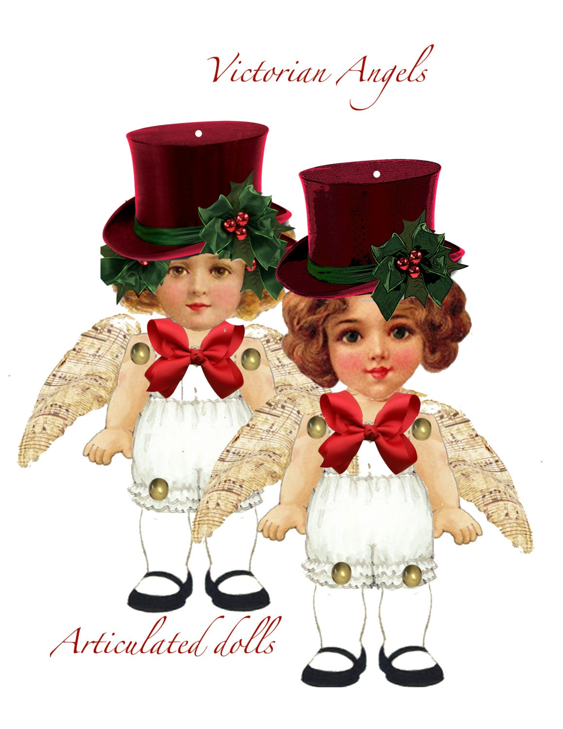 Christmas victorian vintage ephemera paper doll angels craft this is a digital file jeuxipadfo Images