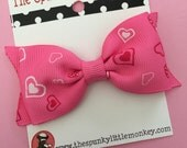 Pink Heart Valentines Day Tuxedo Bow Hair Clip by The Spunky Little Monkey