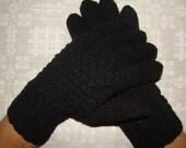 Hand knitted black warm men gloves