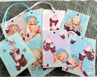 Set of 8 'Kewpie' Baby Doll Cupcake Tags, Toppers