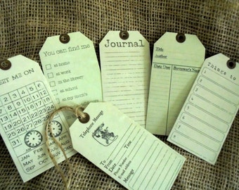 6 Office, Journal Vintage Style Gift Tags