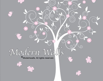 Baby Girl Tree Wall Decals, Nursery Wall Decor, Tree Wall Decals, Flower Wall Decal