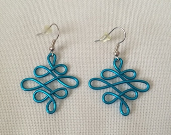 Medium Blue Celtic Knot Wire earrings