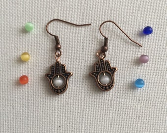 Copper Hamsa Catseye Bead earrings. You choose cats eye bead color!!