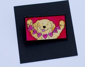 Golden Retriever Valentines Love pin