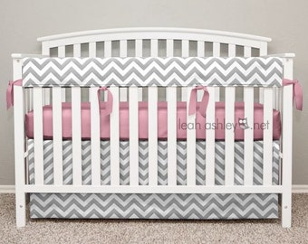 Crib Bedding Set - Crib Skirt and Teething Crib Rail Cover - Gray Chevron, Pink Ribbon Ties - Emery - TS0