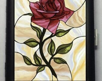 Rose Flower  Black Metal Wallet Cigarette Case  No. 869