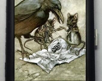 Crow and Mice Vintage Art  Black Metal Wallet Cigarette Case  No. 710