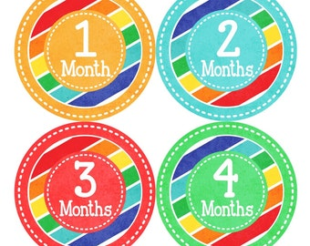 SALE Monthly Baby Stickers NEUTRAL Baby Boy/Girl Monthly Bodysuit Sticker Baby Month Milestone Sticker Shower Gift Baby Props Rainbow (079N)